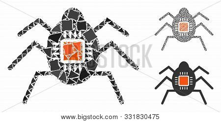 Spy Bug Mosaic Of Joggly Items In Variable Sizes And Color Tints, Based On Spy Bug Icon. Vector Unev