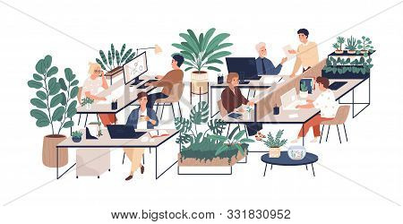 Green Office Flat Vector Illustration. Company Staff, Co-workers Male And Female Cartoon Characters.