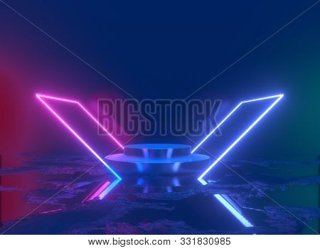 Neon Background. 3d Rendering Pedestal, Shiny Metallic Podium With Glowing Square Frame. Blank Produ