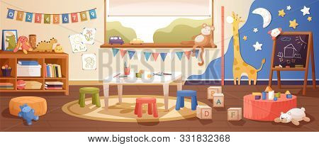 Kindergarten Room Interior Flat Vector Illustration. Cozy Playroom With Cute Children Paintings On W