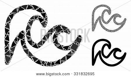 Tsunami Composition Of Abrupt Pieces In Different Sizes And Color Hues, Based On Tsunami Icon. Vecto