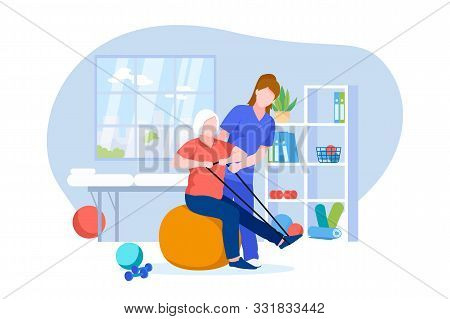 Physiotherapist Or Rehabilitologist Doctor Rehabilitates Elderly Patient. Vector Flat Cartoon Illust
