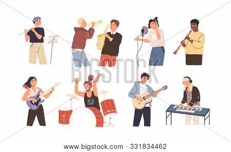 People Playing Musical Instruments Vector Illustrations Set. Young Singer Recording Song With Profes