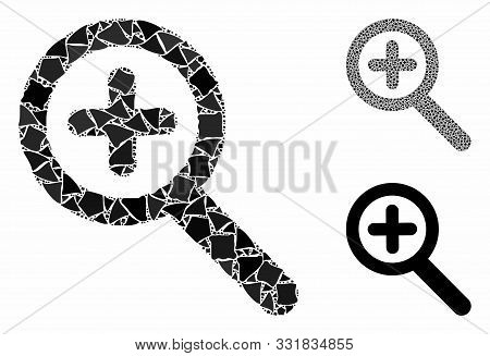 Zoom In Mosaic Of Abrupt Items In Different Sizes And Color Tones, Based On Zoom In Icon. Vector Abr
