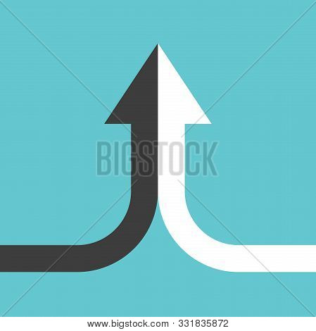 Bent Arrow Of Two Black And White Ones Merging On Turquoise Blue Background. Partnership, Merger, Al