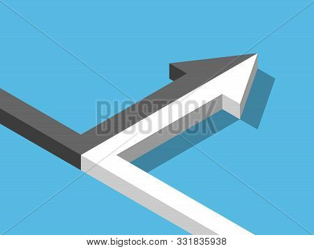 Isometric arrow of two black and white ones merging on blue background. Merger, alliance, partnership and relationship concept. Flat design. Vector illustration, no transparency, no gradients poster