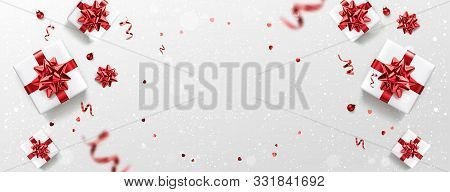 Gold Merry Christmas And New Year Text On Red Holiday Background With Landscape, Snowflakes, Light,
