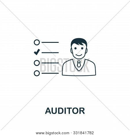 Auditor Icon Outline Style. Thin Line Creative Auditor Icon For Logo, Graphic Design And More