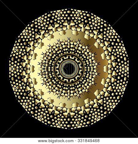 3d Gold Round Dotted Stipple Mandala Pattern. Ornamental Surface Geometric Greek Background. Gold Fl