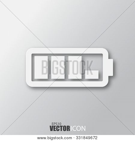 Battery Icon In White Style With Shadow Isolated On Grey Background.