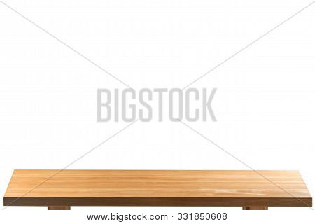 Empty Light Wood Table Top Isolate On White Background, Leave Space For Placement You Background,
