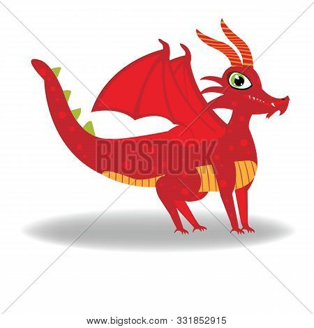 Cute Red Dragon Vector Illustration; Cute Design Of Dragon With Four Legs And Horns