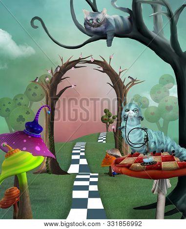 Wonderland Series -  Cheshire Cat And Colorful Magic Mushrooms - 3d Illustration