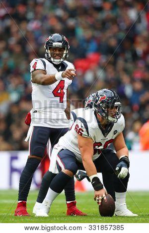 LONDON, ENGLAND - NOVEMBER 03 2019: Houston Texan's quarterback, Deshaun Watson (4) during the NFL game between Houston Texans and Jacksonville Jaguars at Wembley Stadium