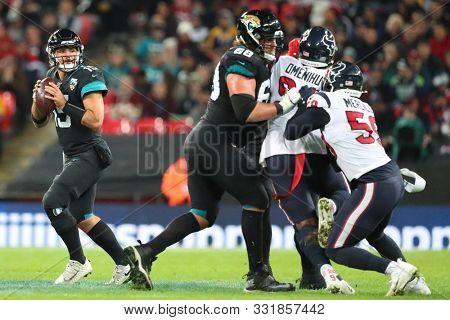 LONDON, ENGLAND - NOVEMBER 03 2019: Jacksonville Jaguars quarterback, Gardner Minshew (15) during the NFL game between Houston Texans and Jacksonville Jaguars at Wembley Stadium