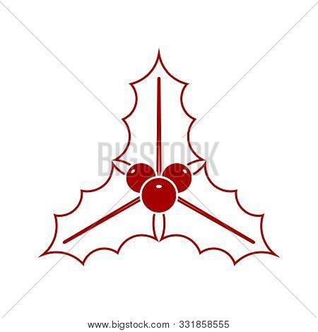 Christmas Mistletoe Graphic Icon. Mistletoe With Leaves And Berries Sign Isolated On White Backgroun