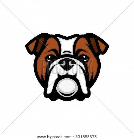 English Bulldog Face - Isolated Outlined Vector Illustration