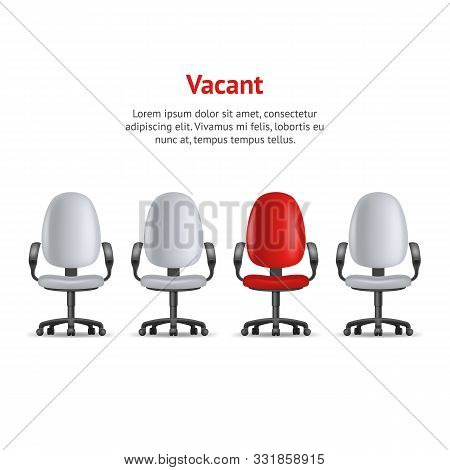 Realistic Detailed 3d Vacant Chairs Concept Card Armchairs In Office Job Recruiting . Vector Illustr