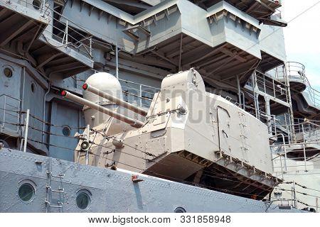 Novorossiysk, Russia - May, 2014: Ship gun. The cruiser Mikhail Kutuzov. Ship Museum.
