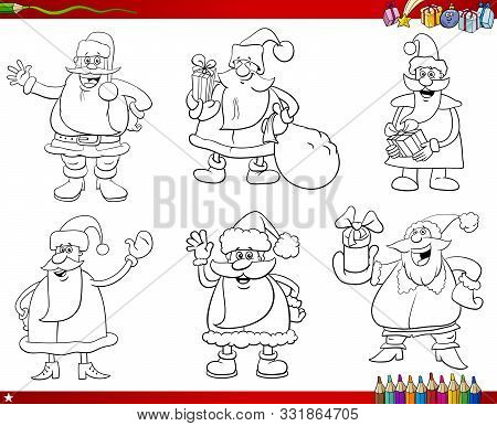 Cartoon Illustration Of Black And White Collection With Santa Claus Christmas Characters Coloring Bo