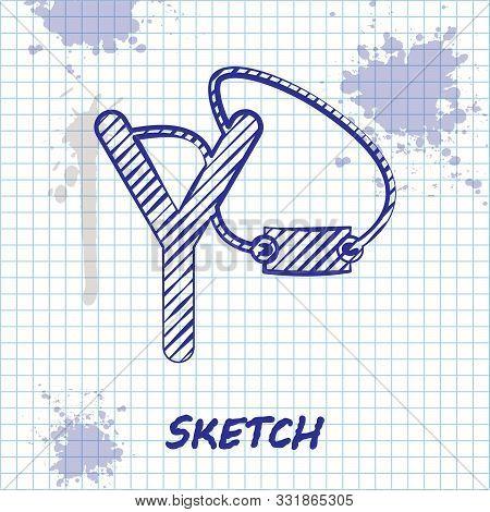 Sketch Line Slingshot Icon Isolated On White Background. Vector Illustration