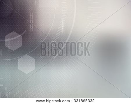 Gray Technology And Science Background, Abstract Creative Design With Dot And Line, Hexagon Shape On