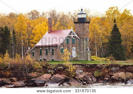 Sand Island Lighthouse In Wisconsin On Lake Superior In The Apostle Islands National Lakeshore - Tak