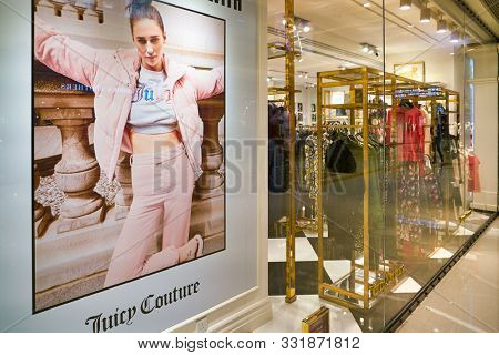 HONG KONG, CHINA - CIRCA JANUARY, 2019: display window at Juicy Couture store in Elements shopping mall. Juicy Couture is a casual wear and dress clothing brand.