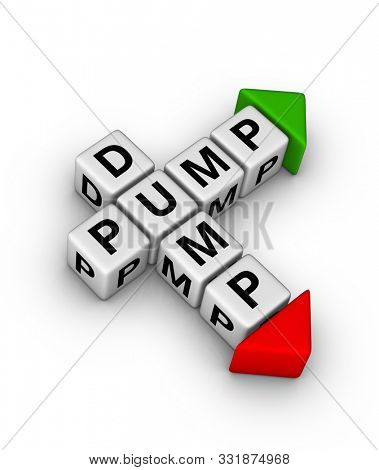 Pump and dump symbol. 3D crossword puzzle.