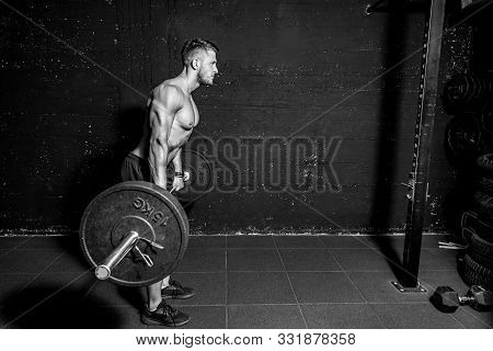 Barbell Training, Young Strong Fit Muscular Sweaty Man With Big Muscles Doing Barbell Weight Lifting