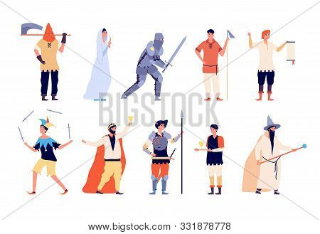 Medieval Characters. Fairy And Knight, Peasant And Executioner, Wizard And King, Warrior And Joker F
