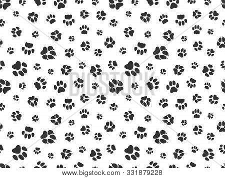 Pet Paw Pattern. Animal Background With God Cat Paws. Pet Steps Seamless Texture. Seamless Footstep