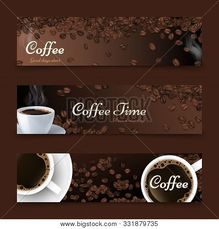 Coffee Background. Realistic Coffee Top View, Vector White Cup Of Drink. Roasted Beans. Cafe Bar Res