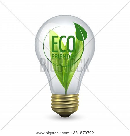 Eco Friendly Light Bulb. Glass Bulb With Green Leaf Inside. Vector Lamp Isolated On White Background