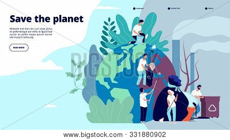 Ecology Landing Page. Characters Cleaning Trash Earth Surface, Environmental Protection Recycling An