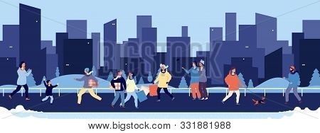 Winter Walking. Happy People Walking In Downtown Vector Illustration. Flat Men Women Child Pets On S