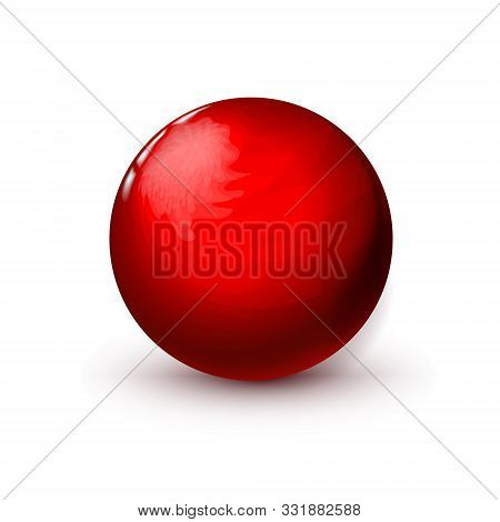 Red Glossy Textured In Streaks Sphere, Polished Ball. Mock Up Of Clean Round Realistic Object, Glass