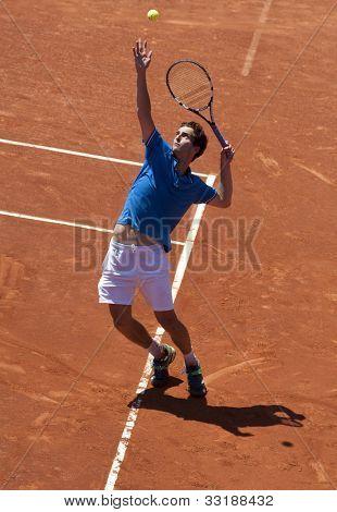 BARCELONA - APRIL, 26: Spanish tennis player Albert Ramos in action during his match against Kei Nishikori of Barcelona tennis tournament Conde de Godo on April 26, 2012 in Barcelona