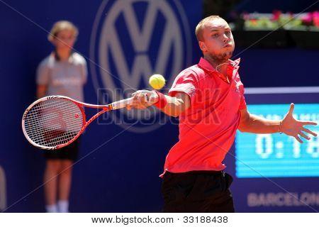 BARCELONA - APRIL, 24: Belgian tennis player Steve Darcis in action during his match against Fernando Verdaso of Barcelona tennis tournament Conde de Godo on April 24, 2012 in Barcelona