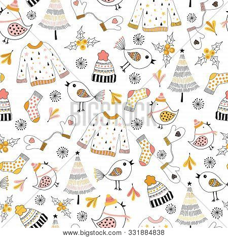 Doodle Winter Kids Seamless Vector Pattern. Repeating Background Sketch Illustration Sweater, Hat, B