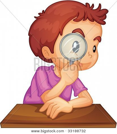 Illustration of a boy using a magnifying glass