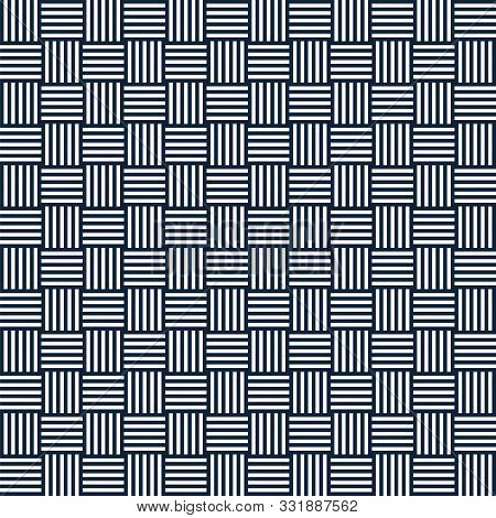 Vector Abstract Geometric Seamless Pattern Of Striped Squares. Repeating Geometric Tiles. Vertical A