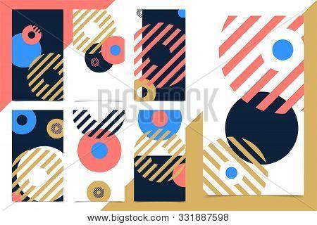 Vector Set Modern Design Vertical Web Banner. For Social Media Mobile Apps. Bright Promo Backgrounds