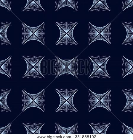 Abstract Blue Rhombus Wave Lines Background Texture In Geometric Ornamental Style. Seamless Design