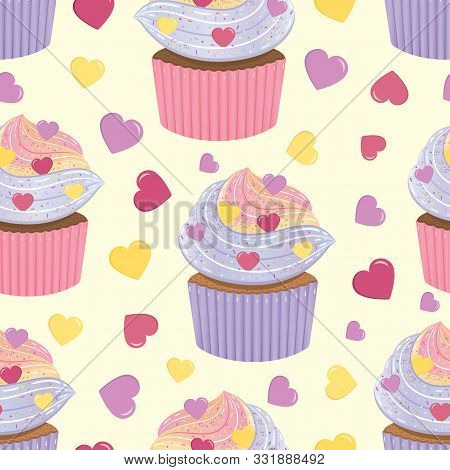Holliday Bright Vector Seamless Pattern With Cupcakes