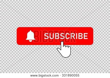Subscribe Red Button With Bell And Hand Clicking Cursor. Subscribe Button With Bell And Pointer. Soc