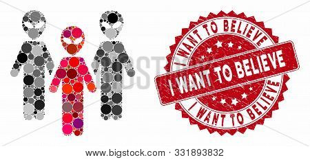 Collage Alien Group And Rubber Stamp Watermark With I Want To Believe Text. Mosaic Vector Is Formed