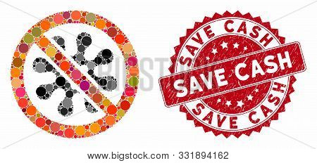 Mosaic Antivirus And Rubber Stamp Seal With Save Cash Text. Mosaic Vector Is Designed With Antivirus
