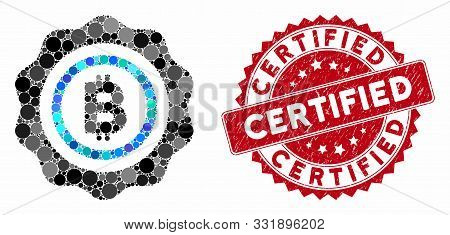 Mosaic Bitcoin Seal Stamp And Grunge Stamp Watermark With Certified Phrase. Mosaic Vector Is Designe