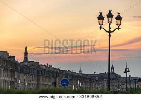 Richelieu Quay Of Garonne River In Bordeaux At Sunset, France